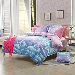 Hxiang 3-Pieces Size Duvet Cover Bed Set, Cotton & Microfibe