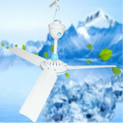 12V DC Electrical Portable Ceiling Fan 3-Blade Low Noise Eas