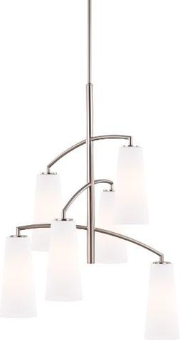 Feiss F2949/6BS 6-Bulb Chandelier, Brushed Steel Finish