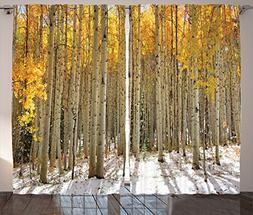 Ambesonne Farm House Decor Collection, Aspen Trees with Gold
