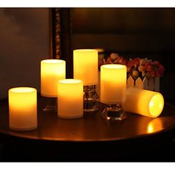 GiveU Flameless Outdoor LED Candle Set, Battery Operated Pla