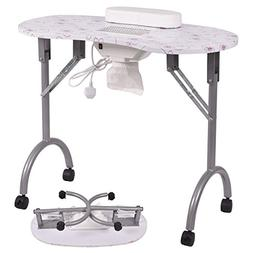 New MTN-G Folding Portable Vented Manicure Table Nail Desk S