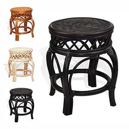 Ginger Handmade Rattan Wicker Stool Fully Assembled Dark Bro