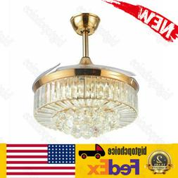 Gold 42in Insivible Crystal Ceiling Fan Light LED Chandelier