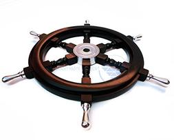 """24"""" Handcrafted Nautical Premium Black Ship's Wheel With Pol"""