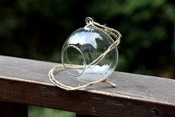 4 X Hanging Clear Glass Bauble Sphere Ball Candle Tea Light