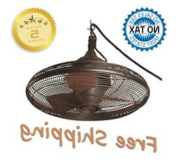 Hanging Downrod Outdoor Ceiling Fan Bronze Oil Rub Pavilion