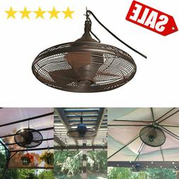 NEW 20-in Hanging Outdoor Fan Downrod Bronze Patio Porch Gaz