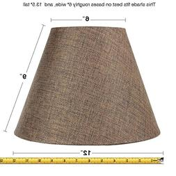6x12x9 Hard Back Empire Lampshade Chocolate Burlap By Home C
