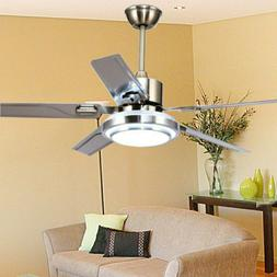 "52"" Control Remote Ceiling Fan Lamp Light Stainless Steel Ch"