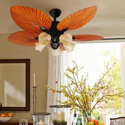 "52"" Ceiling Fan with Light 5 Blades Antique Brown Reversible"