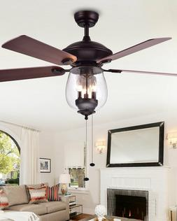 HORCHOW Home Accessories Seeded Glass Ceiling Fan Modern Far
