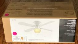 42 In. Hugger White 3-Speed Ceiling Fan With Schoolhouse Fro