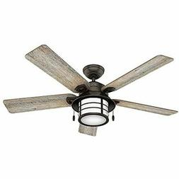 "Hunter 59273 Key Biscayne 54"" Ceiling Fan With Light, Large,"
