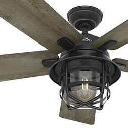 "Hunter Fan 54"" Weathered Zinc Outdoor Ceiling Fan with a Cle"
