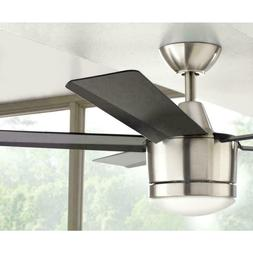 52 In. LED Indoor Brushed Nickel Ceiling 3-Speed Fan with Re