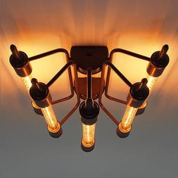 Industrial 5-Light Steampunk Close to Ceiling Light Retro T3