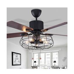 "52"" Vintage Ceiling Fan with Lights Industrial Chandelier Re"