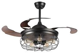 Parrot Uncle Industrial Ceiling fans with 5 Edison Bulbs Inc