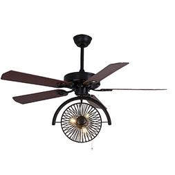 "LITFAD Industrial Fan Antique Black Brown 47.24"" 3 Lights Vi"