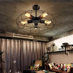 Industrial Vintage Metal Fan Pendant Lamp Steampunk Ceiling