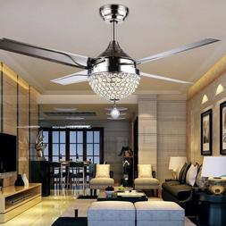 "44"" Remote Control Crystal Ceiling Fan Light Lamp LED Chande"
