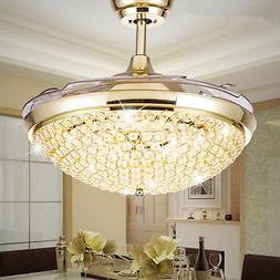 Silver/gold LED Crystal Invisible Ceiling Fan Light Chandeli