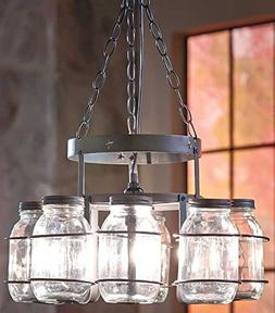 Jar Chandelier Country Decor Wrought Iron Hanging Chain Deco