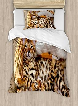 Ambesonne Kitten Duvet Cover Set Twin Size, Little Bengal Ca