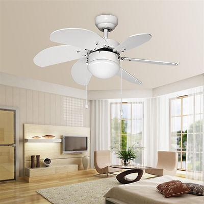 30 Inch Ceiling Fan with Light Kit - 6 Wooden Blades Reversi