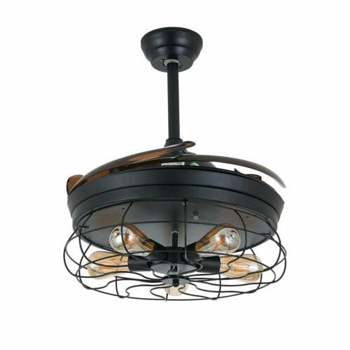 Ceiling Fan with Light Industrial Cage +RC