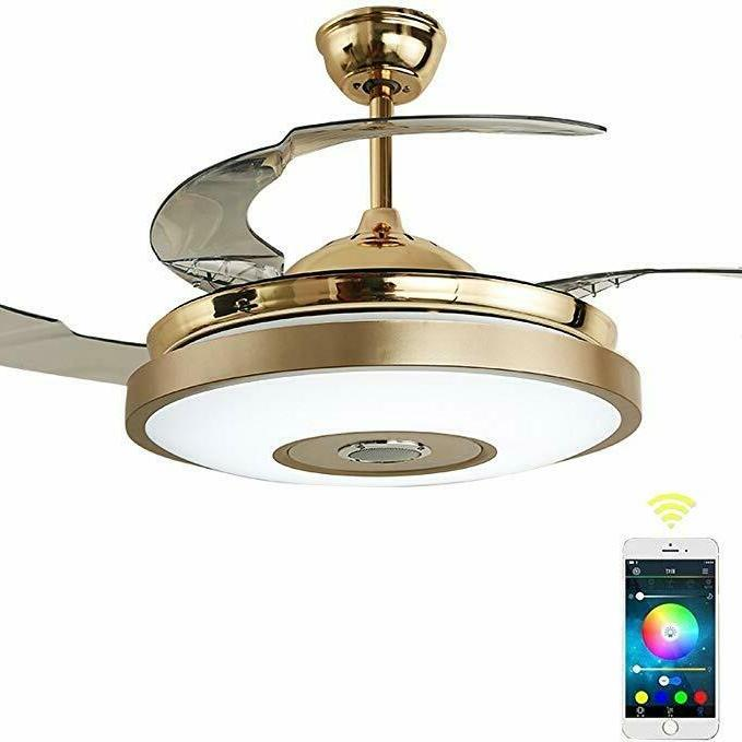 36'' Modern Ceiling Fan with Light Bluetooth Music Player Ce