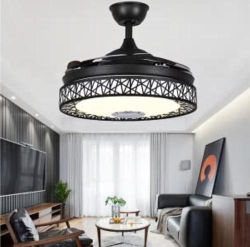 "42"" Invisible Ceiling Fan 7-Color LED Chandelier"