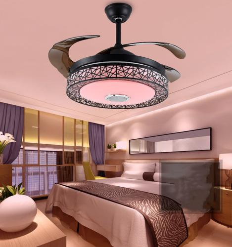 "42"" Bluetooth Invisible Fan 7-Color LED Chandelier"