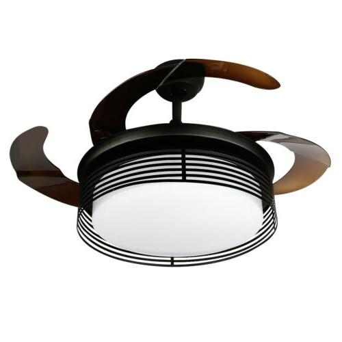 42'' Modern Ceiling Fan Light Dimmable Remote Control Retractable