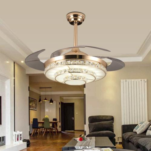 "42"" Modern Invisible Ceiling Fan Light Crystal Chandelier Pe"