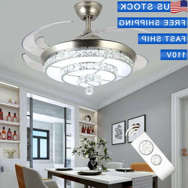 42 invisible ceiling fan crystal light living