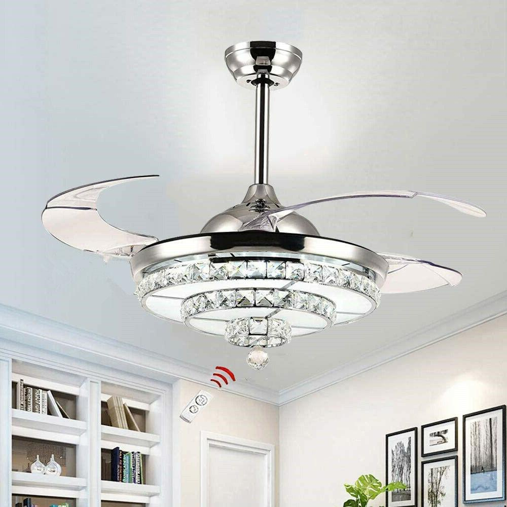 42 crystal invisible ceiling fan light remote