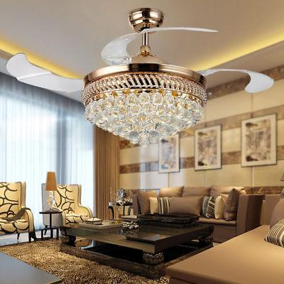 "42"" Crystal Remote Control Ceiling Fan Light LED Blades Chan"