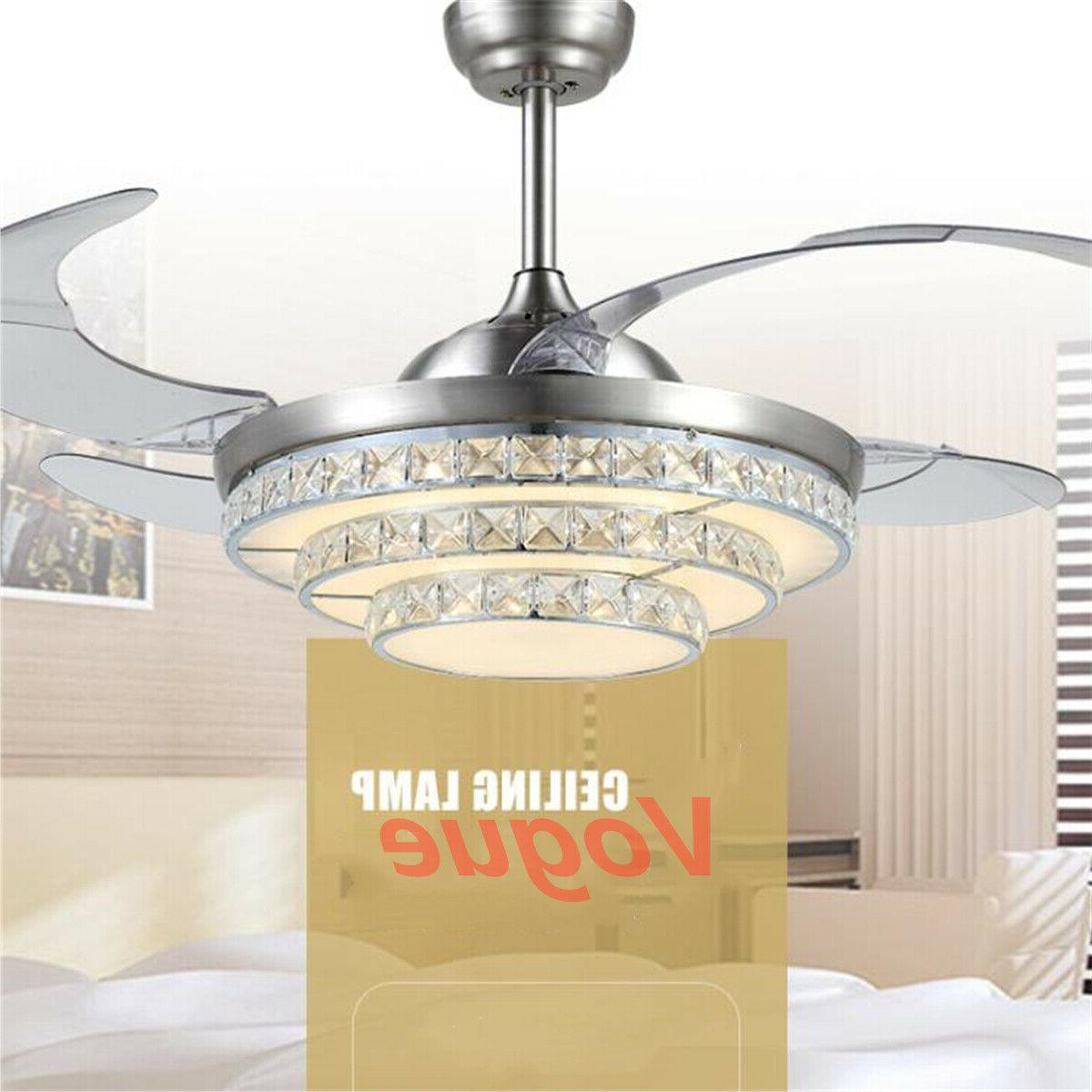 42'' Retractable Blade Fan Lamp Remote