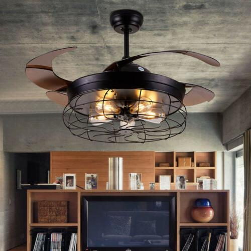 "42"" Reversible Blade Flush Chandelier Remote Industry"