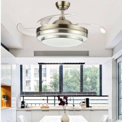 """Fan Ceiling Light 42"""" Modern Invisible Dining Room LED Chand"""