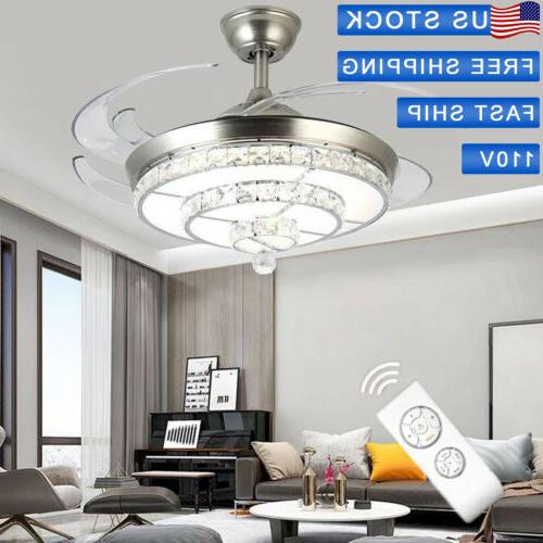"42"" Invisible Ceiling Fan Chandelier Fixture+"