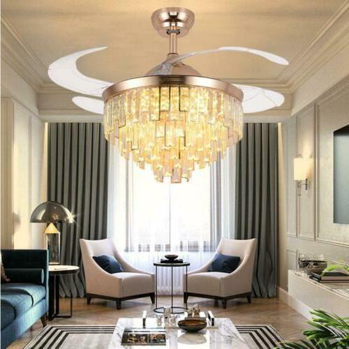 """42""""Gold Luxury Invisible Ceiling Fan Crystal LED Light Remot"""