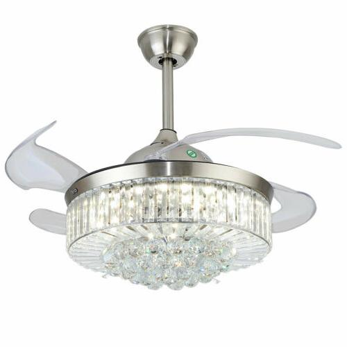 "36""/42"" Crystal Chandelier Led Light Remote Retractable Blades"