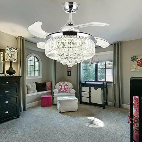 Crystal LED Chandelier Invisible Ceiling Fan Light Ceiling L