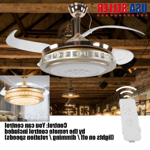 "42"" Retractable Crystal LED Ceiling Fan Light Remote Control"