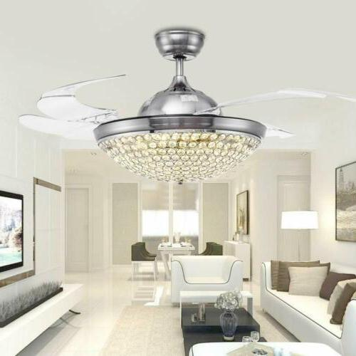 """42"""" Retractable Ceiling Fans with Lights Crystal Remote"""