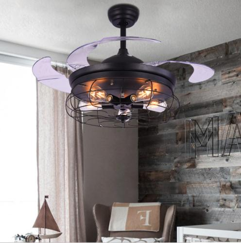 "42"" Vintage Fan with Industrial Chandelier Retractable Lighting"