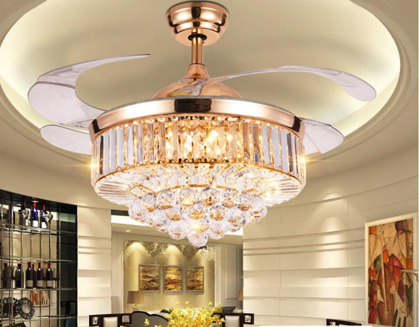 "42"" Rose Gold Invisible Crystal Ceiling Fan Light Lamp Luxur"